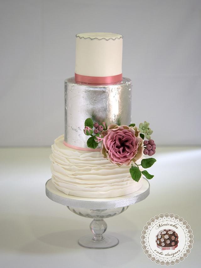 Blossoms & Silver Wedding cake