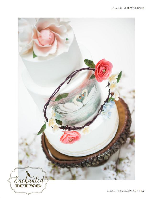 Cake Central Mag. Watercolor Swan Wedding Cake