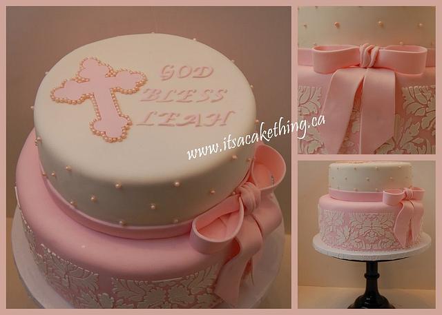 Damask Baptism Cake