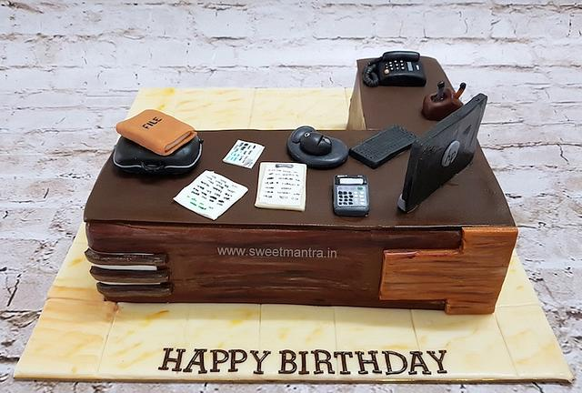 Office desk, cubicle shaped 3D designer fondant cake for company boss, manager's birthday