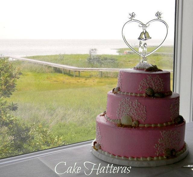 Pink Beach Wedding Cake