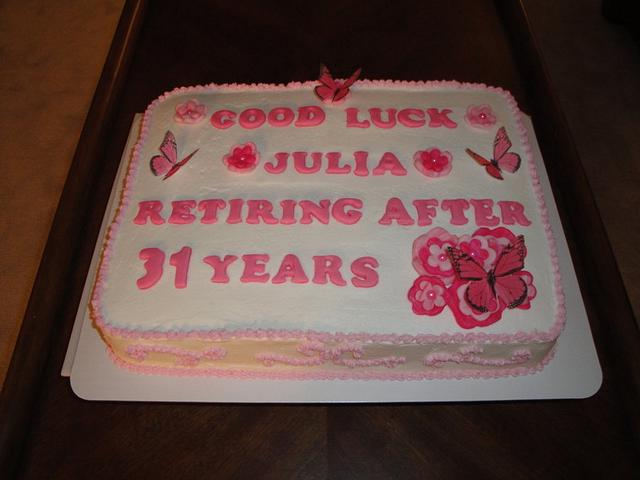 Butterfly & Flowers Retirement Cake