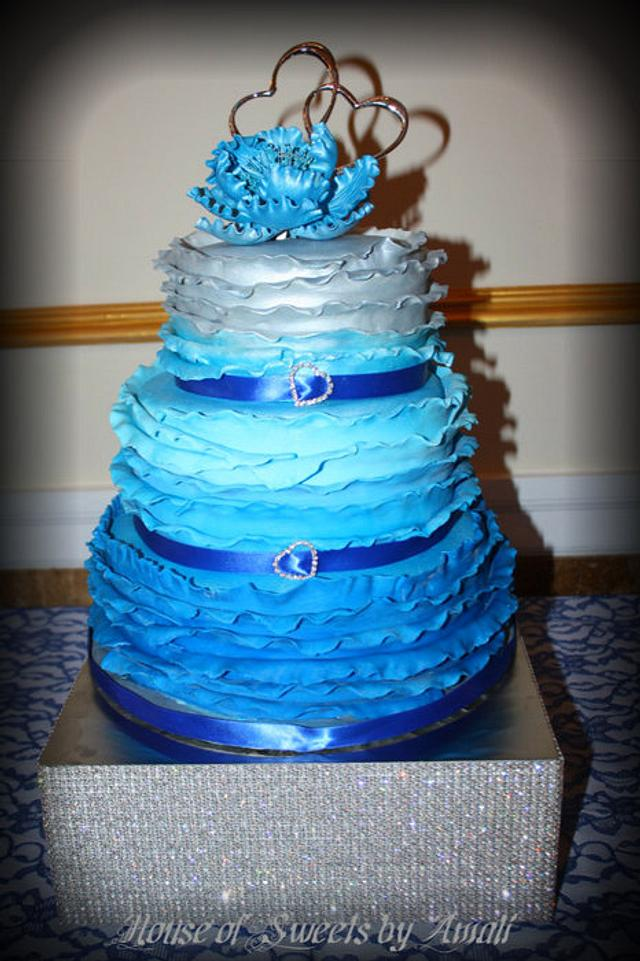 Ruffled Blue/Silver Ombre Bridal Shower Cake