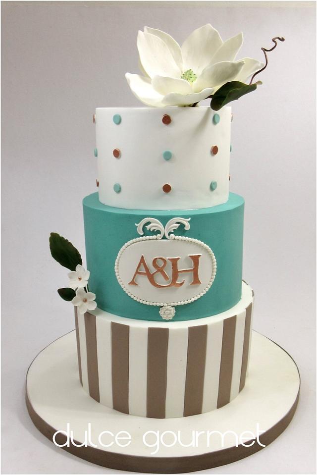Wedding cake with magnolia