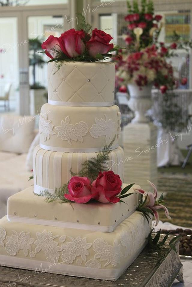 WHITE AND HOT PINK ILLUSION WEDDING CAKE