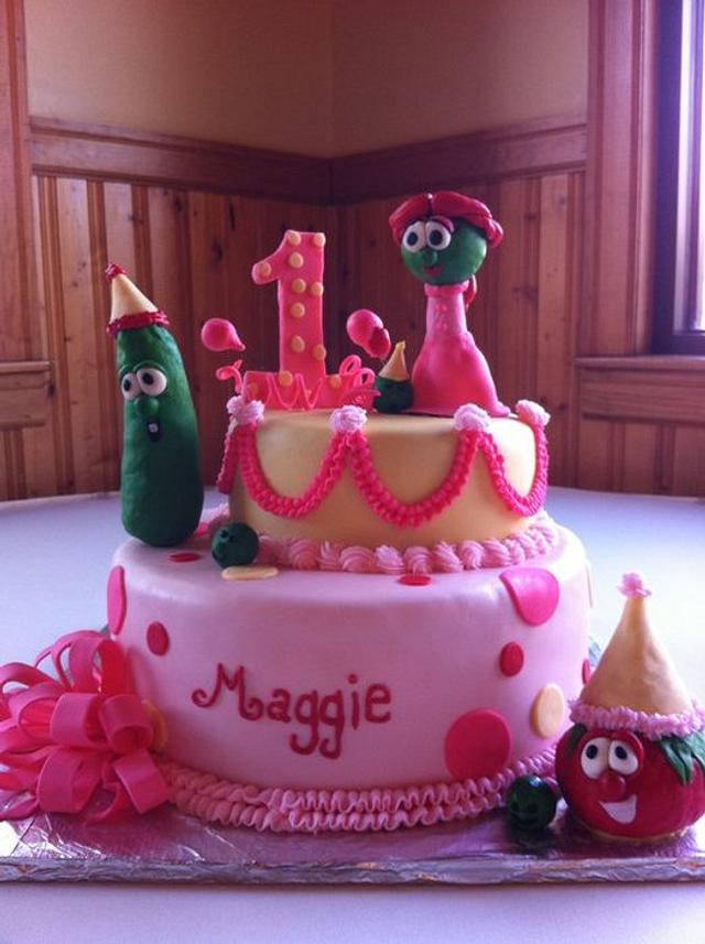 Magnificent Veggie Tales 1St Birthday Cake Cake By Melissa Cook Cakesdecor Personalised Birthday Cards Veneteletsinfo