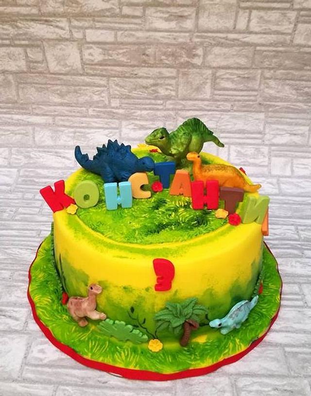 Groovy Dinosaur Birthday Cake Cake By Rositsa Lipovanska Cakesdecor Birthday Cards Printable Opercafe Filternl