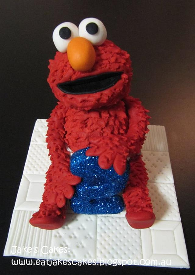 Elmo Cake Topper Cake By Jake S Cakes Cakesdecor