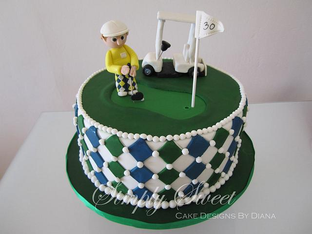 Golf Theme 30th Birthday Cake
