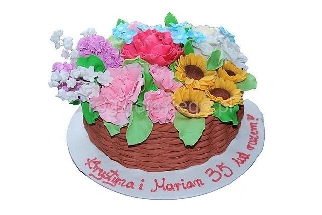Cake Basket With Flowers / Tort Kosz Kwiatów