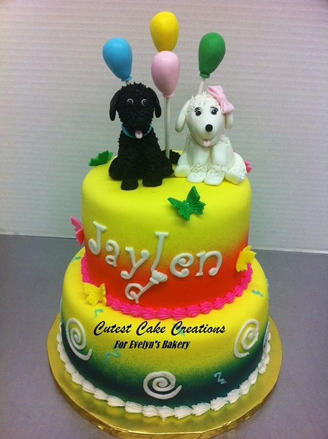 Swell Double Puppy Birthday Cake Cake By Evelyn Vargas Cakesdecor Funny Birthday Cards Online Fluifree Goldxyz