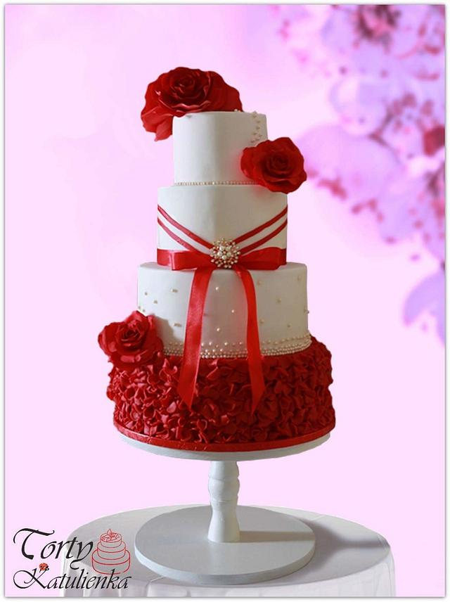 Wedding cake white&red