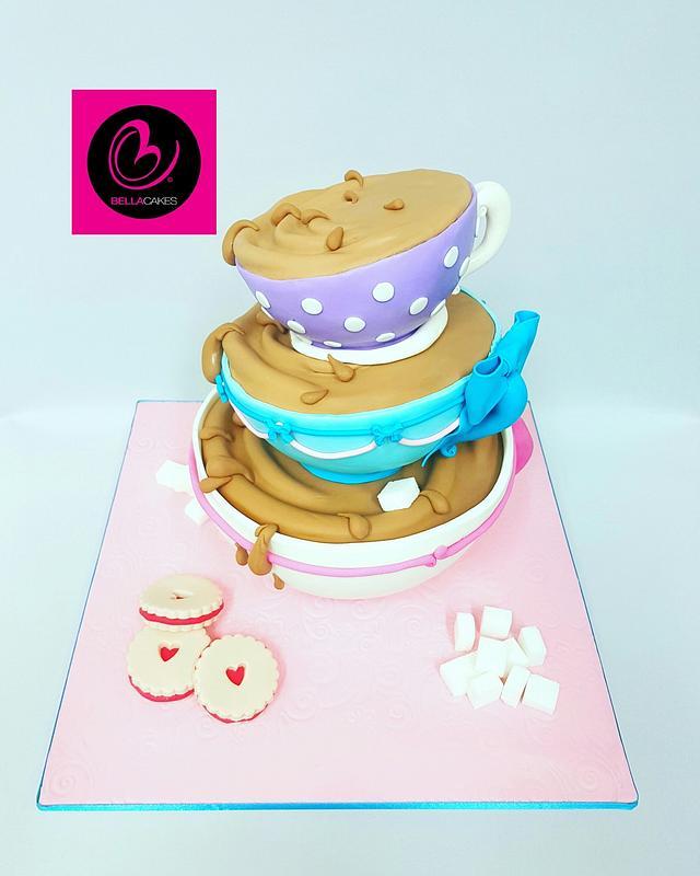 Balancing teacups cake