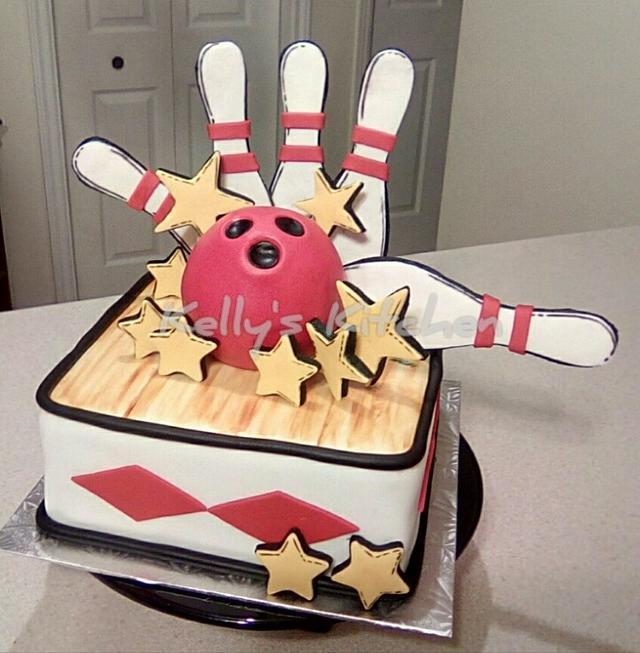 Glow bowling birthday cake