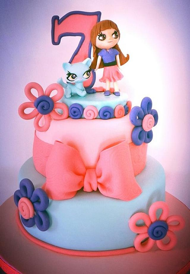 Peachy Littlest Pet Shop Cake By Bellacakes Confections Cakesdecor Funny Birthday Cards Online Elaedamsfinfo