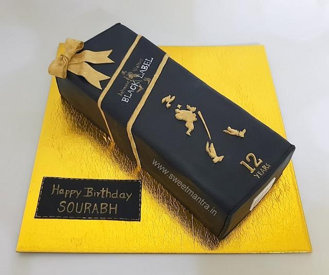 Black label whiskey bottle box shaped 3D cake