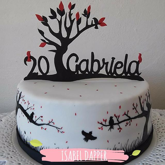 Black Silhouette Birds and trees cake