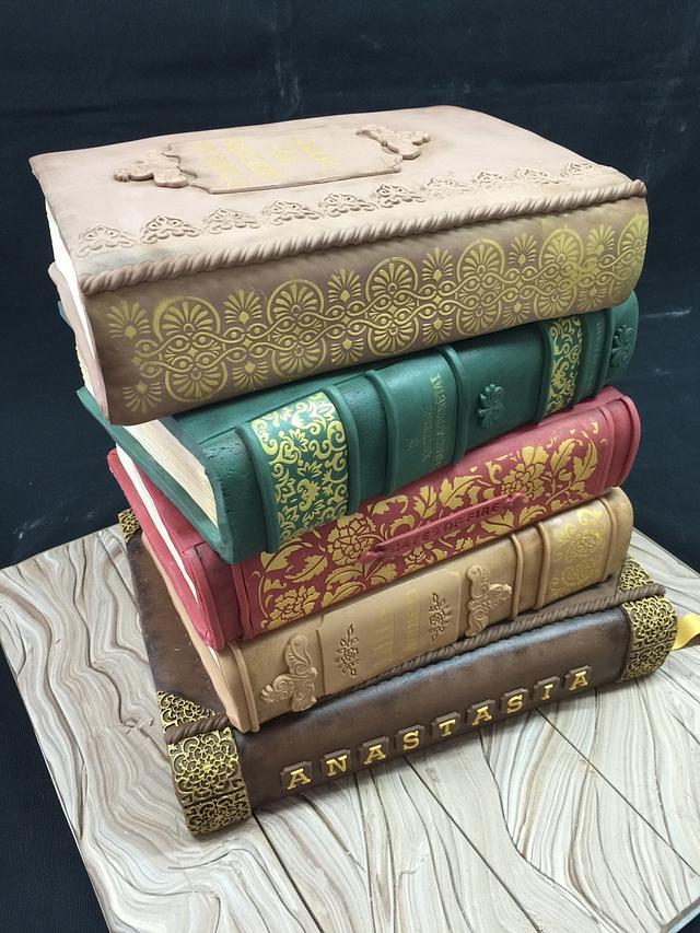 Vintage books cake