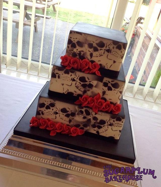 Square 3 Tier Skull Airbrushed Wedding Cake
