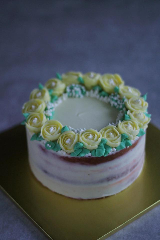 freesia buttercream flower cake