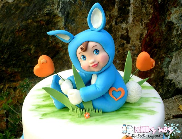 Baby Alessio dressed as bunny.. my christening cake topper (first version)!