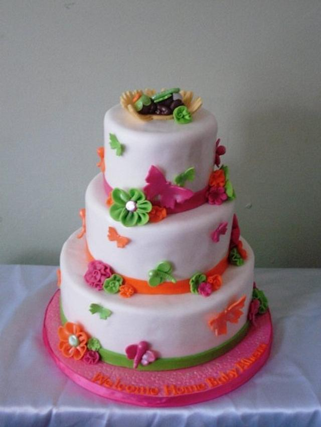 Butterflies & Dragonflies Baby Shower Cake