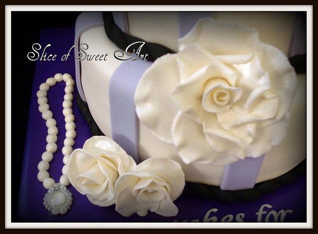 Lilac Black & White Bridal Shower Cake