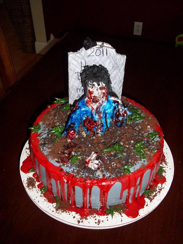 Admirable Zombie Birthday Cake Cake By Jackie Cakesdecor Personalised Birthday Cards Veneteletsinfo