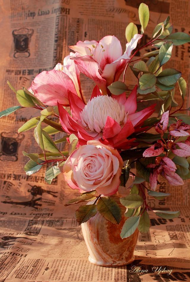 bouquet with amaryllis & protea