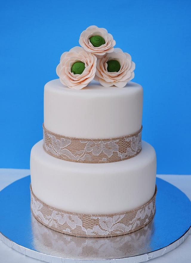 Gumpaste Ranunculus Cake