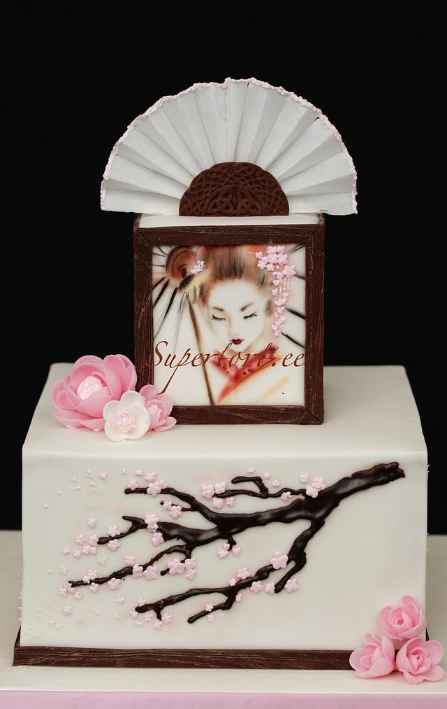 Handpainted Geisha cake