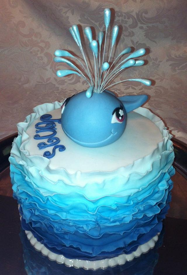 christening cake with whale