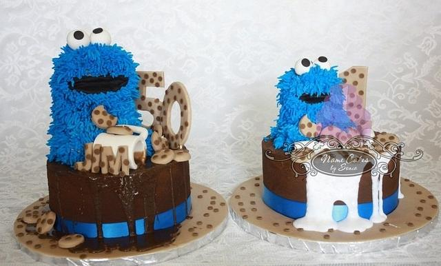 Cookie monster dad and baby
