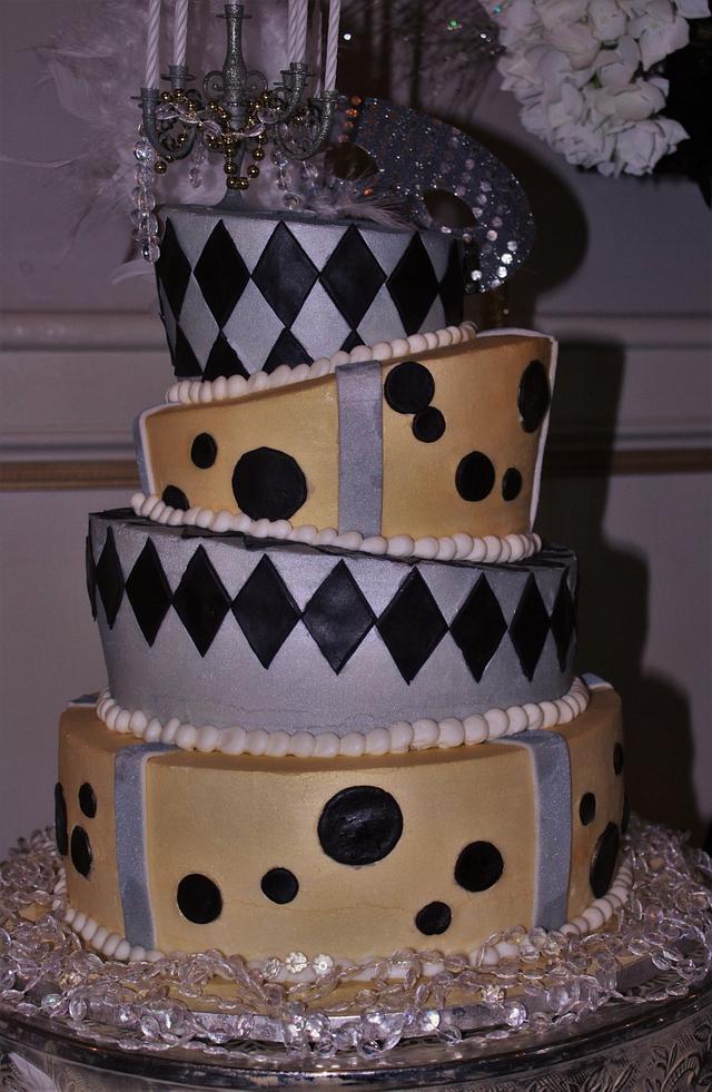 Topsy Turvy gold,silver, black birthday cake