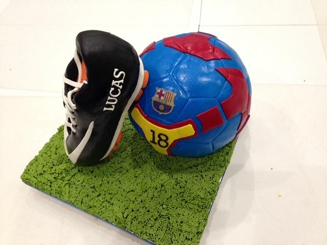 Soccer ball and shoe cake
