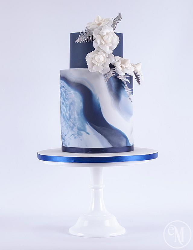 Icy Blue Marble Cake with Chanel inspired camellias