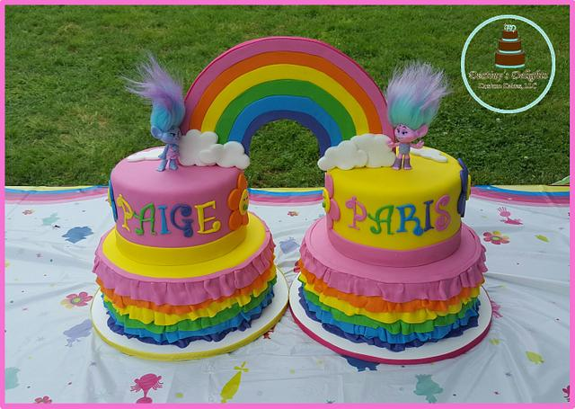 Stupendous Trolls Twins Birthday Cake Cake By Anshalica Miles Cakesdecor Personalised Birthday Cards Veneteletsinfo