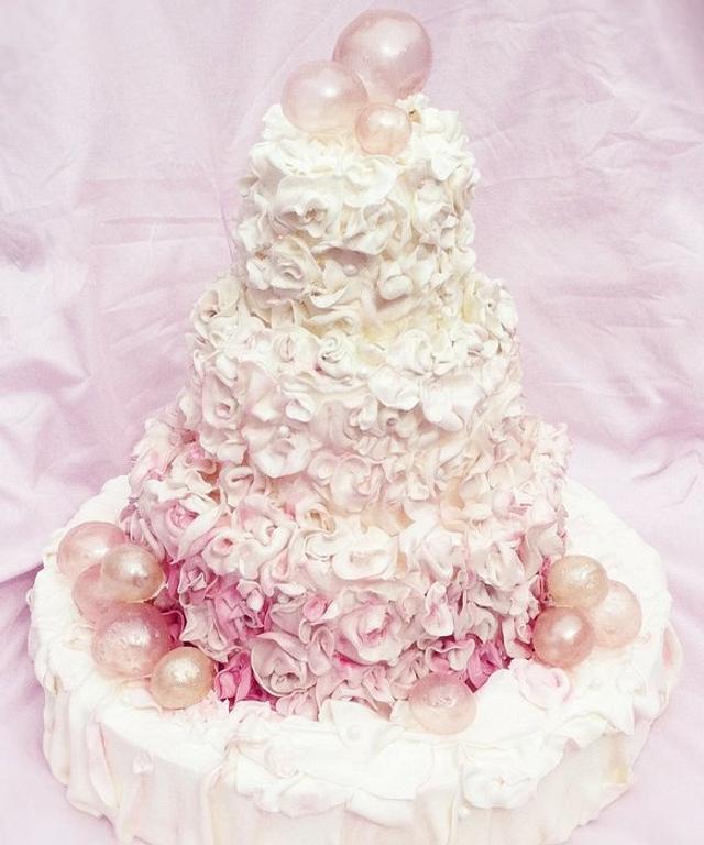Pink Bubbles Wedding Cake