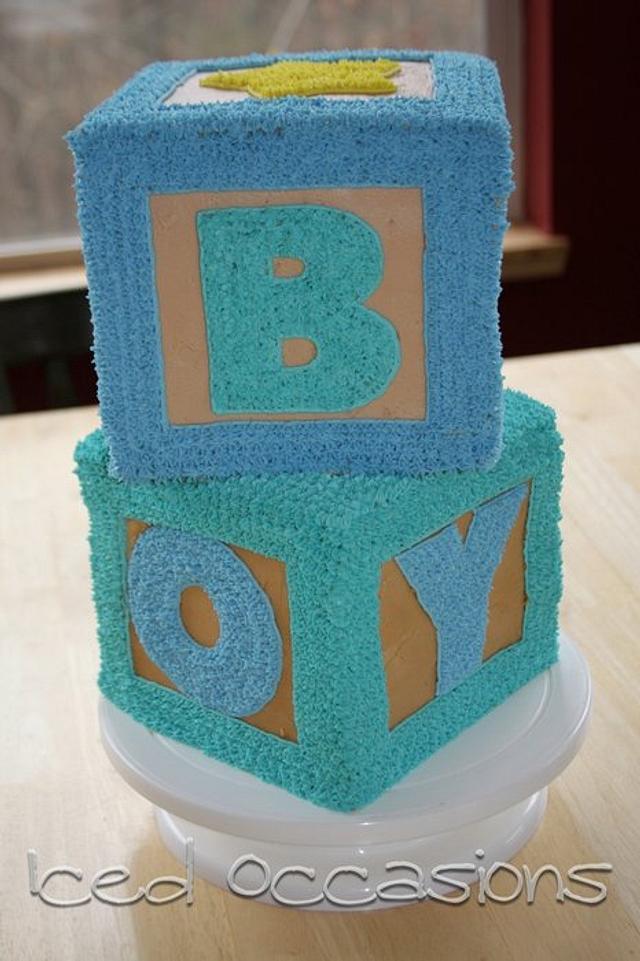 Blocks Baby Shower Cake