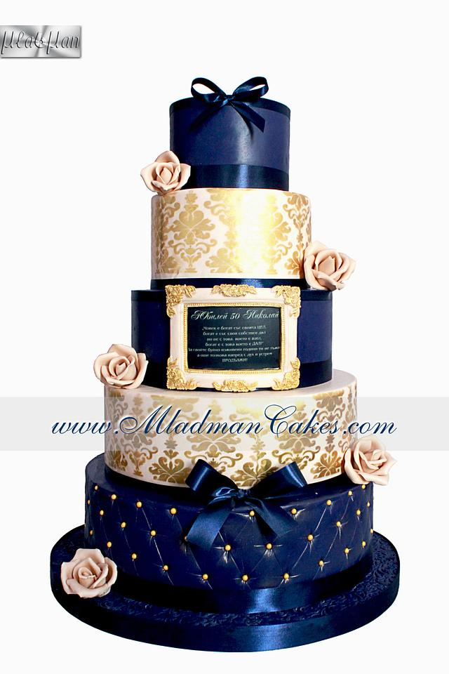Blue Anniversary Men Cake