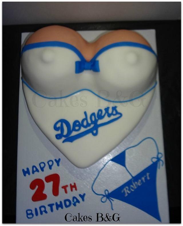 Marvelous Dodgers Naughty Cake Cake By Laura Barajas Cakesdecor Personalised Birthday Cards Veneteletsinfo
