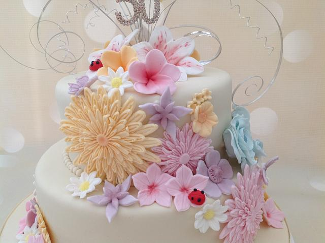 Incredible Flower Bomb 50Th Birthday Cake Cake By Yvonne Beesley Cakesdecor Funny Birthday Cards Online Alyptdamsfinfo