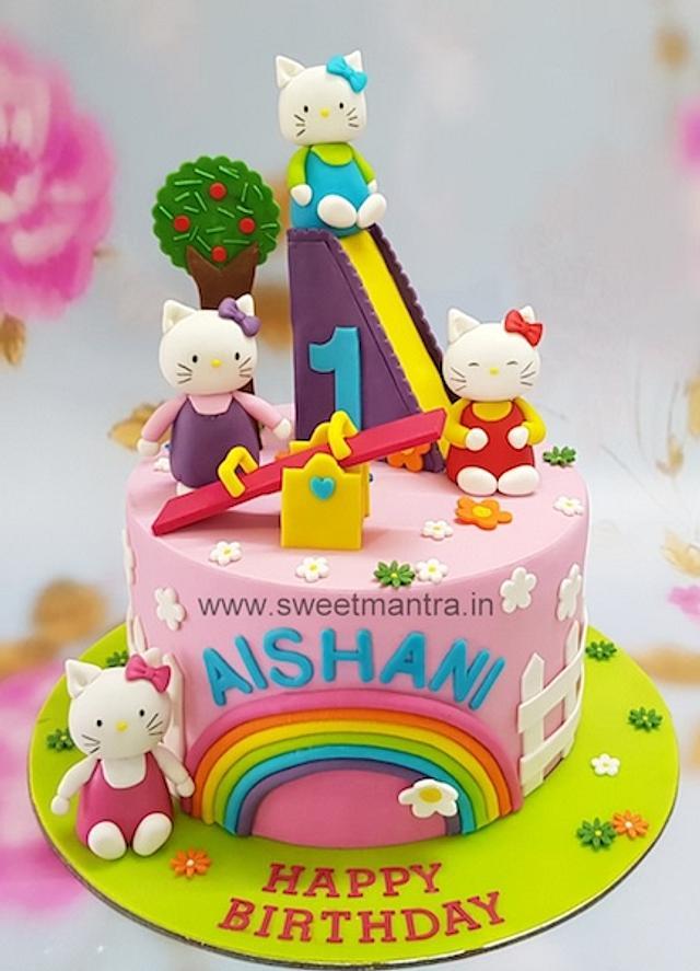 Admirable Hello Kitty In Playarea Theme Cake For Girls 1St Birthday Cakesdecor Personalised Birthday Cards Veneteletsinfo