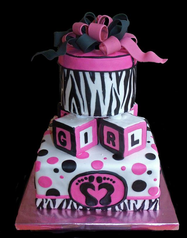 Zebra Stripes and Hot Pink Baby Shower Cake