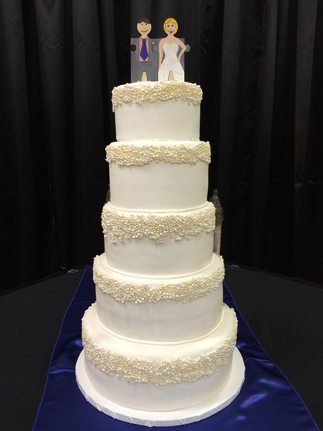 Half and Half Halloween wedding cake