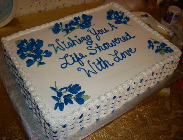 Texas Bluebonnet Bridal Shower Cake