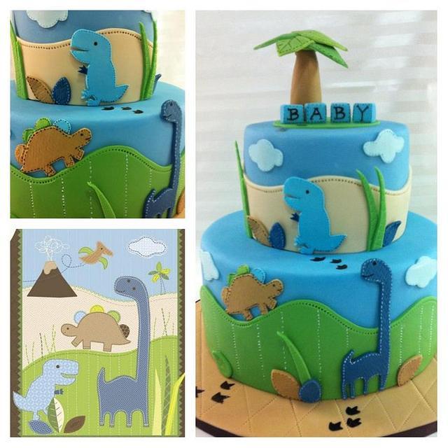 Adorable Dinos Baby shower cake