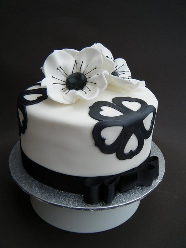 Black and White Birthday Cake