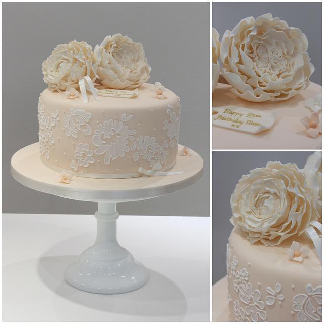 Super David Austin Vintage Birthday Cake Cake By Cakesdecor Funny Birthday Cards Online Fluifree Goldxyz