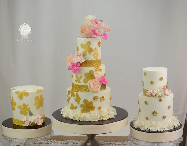 White and Gold Wedding Trio